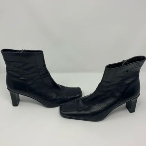 Spring High Heel Boots Black Square Toe Synthetic